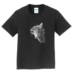 Bobcat Looking Up on Black - Kids' Unisex T-Shirt