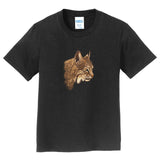 Bobcat Portrait on Black - Kids' Unisex T-Shirt