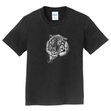 Tiger with Snow on Black - Kids' Unisex T-Shirt