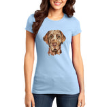 Chocolate Lab Face Watercolor - Women's Fitted T-Shirt