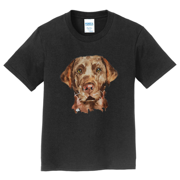 Chocolate Lab Face Watercolor - Kids' Unisex T-Shirt