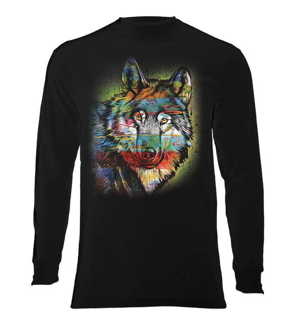 Painted Wolf - The Mountain - Long Sleeve 3D Animal T-Shirt