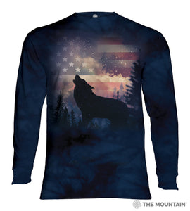 Patriotic Howl - The Mountain - Long Sleeve 3D Animal T-Shirt