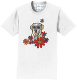 Labrador Purple Flower Eyes - Adult Unisex T-Shirt