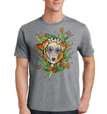 Yellow Labrador Surrounded in Flowers - Adult Unisex T-Shirt