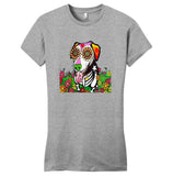 Labrador with Tongue Out - Skeleton Style - Women's Fitted T-Shirt
