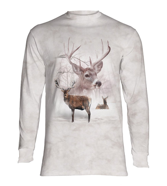 Wintertime Deer - The Mountain - Long Sleeve 3D Animal T-Shirt