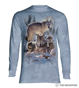 Wolf Family Mountain - Adult Unisex Long Sleeve T-Shirt