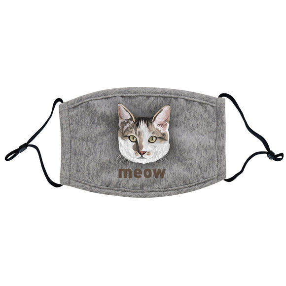 Animal Pride - Cat and Meow Text - Adult Adjustable Face Mask