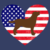 USA Flag Chocolate Lab Silhouette - Adult Unisex T-Shirt