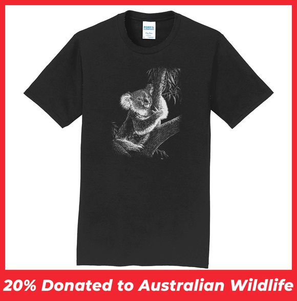 Koala on Black - Adult Unisex T-Shirt
