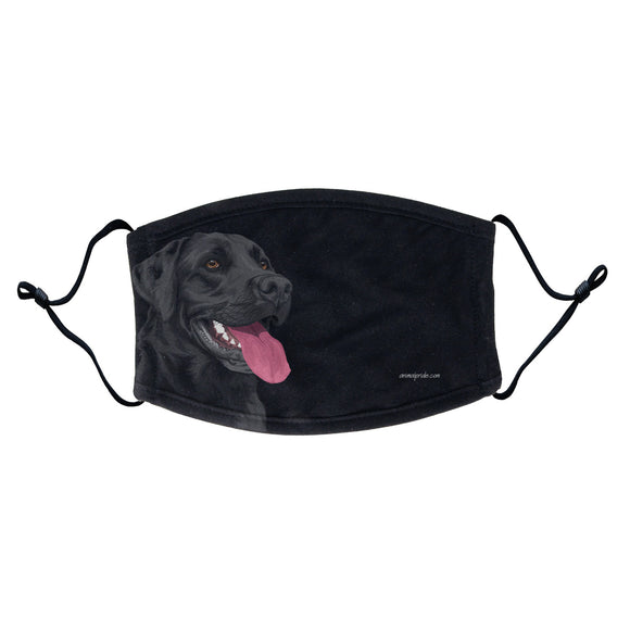 Black Lab Graphic Illustration Face Mask - Adjustable Ear Loops, Reusable & Washable, Cloth - Animal Pride