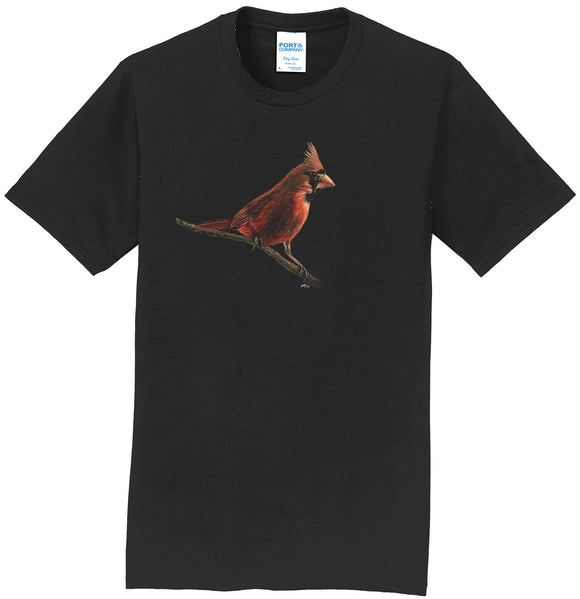 Cardinal on Black - Adult Unisex T-Shirt