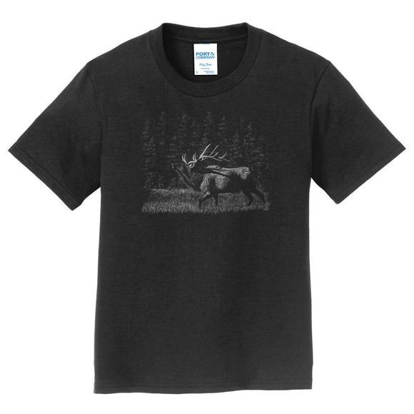 Elk on Black - Kids' Unisex T-Shirt