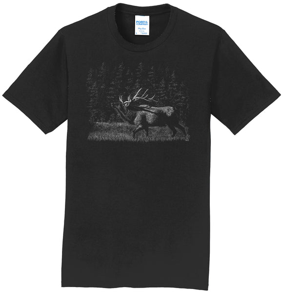 Elk on Black - Adult Unisex T-Shirt