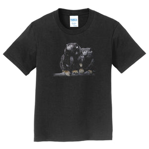 Red Handed Tamarin on Black - Kids' Unisex T-Shirt