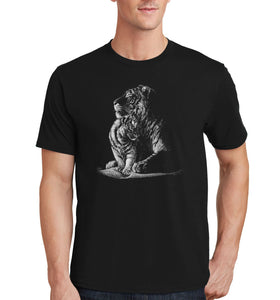 Tiger and Cub on Black - Adult Unisex T-Shirt