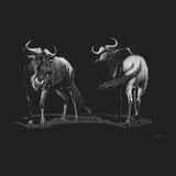 Wildebeest on Black - Women's Fitted T-Shirt