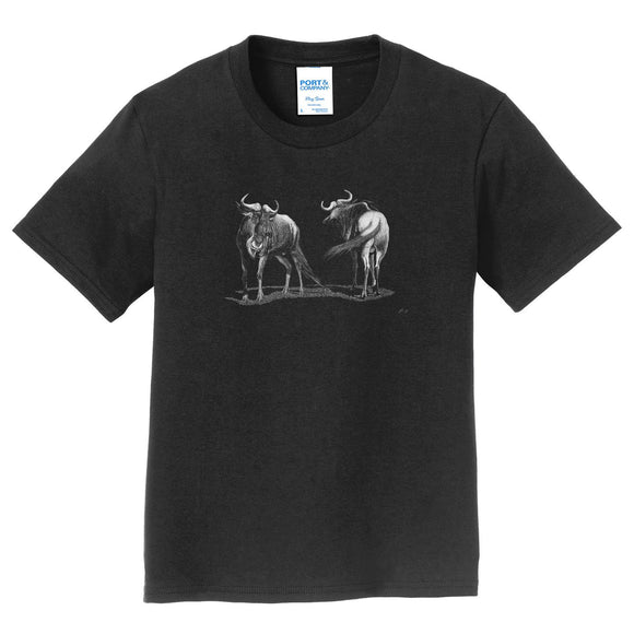 Wildebeest on Black - Kids' Unisex T-Shirt