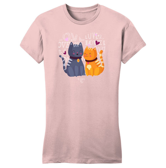 Love Heart Cats - Women's Fitted T-Shirt - Animal Tee