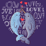 Love Heart Narwhals - Women's Fitted T-Shirt