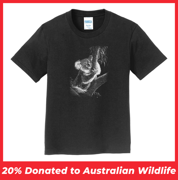 Koala on Black - Kids' Unisex T-Shirt