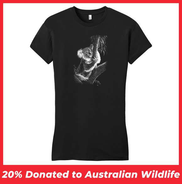 Koala on Black - Women's Fitted T-Shirt - Animal Tee