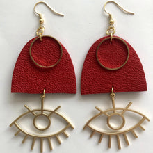 Load image into Gallery viewer, HANDMADE LEATHER EARRINGS EYES