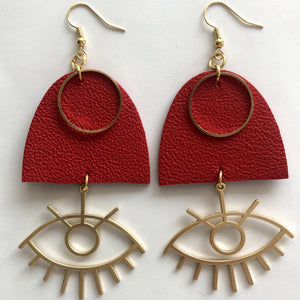 HANDMADE LEATHER EARRINGS EYES