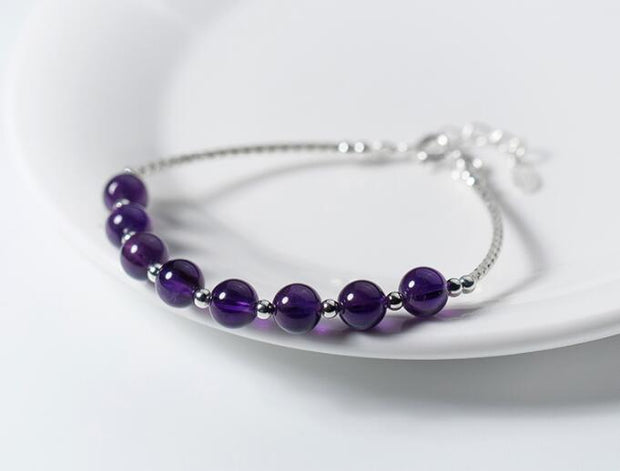 Amethyst Silver Intuition Bracelet
