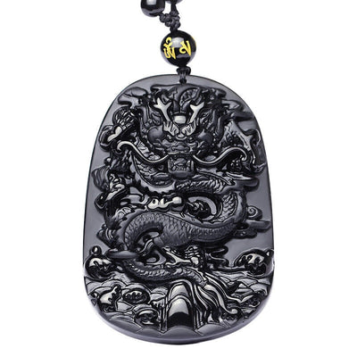 Natural Obsidian Dragon Pendant