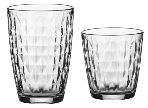 Ravenhead Set of 12 HighBall Glass Tumblers And Drinking Tumblers Diamond Design