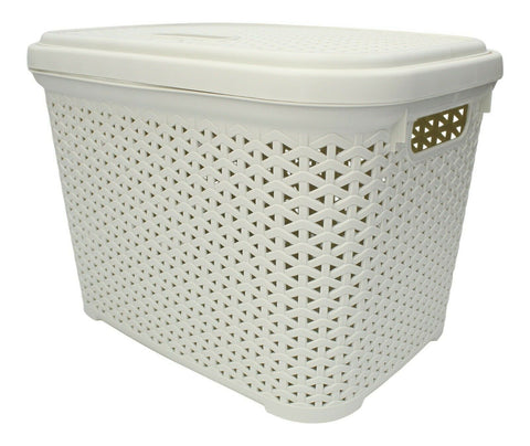Rattan Plastic Large Storage Box 30 Litre Stackable With Swing Lid