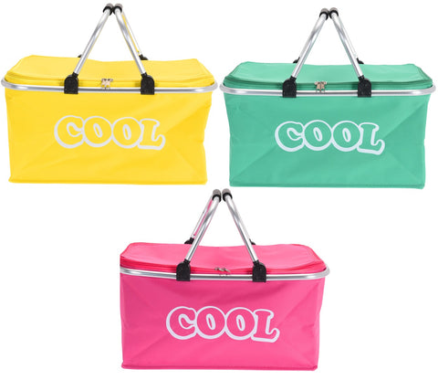 35 Litre Large Cooler Box Bag Picnic Insulated Box & Metal Frame Bright Colours