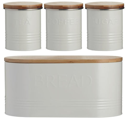 Typhoon Rippled Metal Tea Coffee Sugar Canister Set & Bread Bin Crock Set Cream