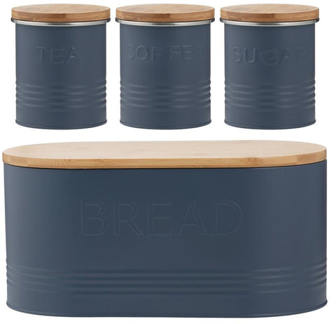 Typhoon Rippled Metal Tea Coffee Sugar Canister Set & Bread Bin Crock Set Blue