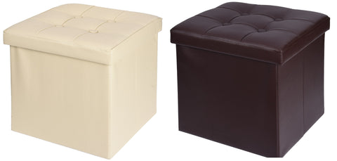 Ottoman Pouffe Cube Storage Box & Seat up to 150kg Faux Leather Brown & Cream