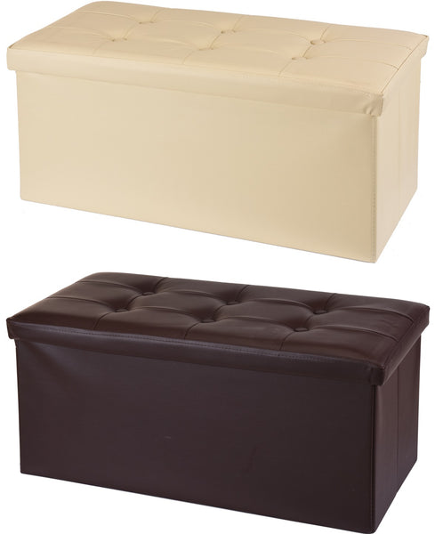 Ottoman Large Pouffe Storage Box Sat On up to 150kg Faux Leather Brown & Cream