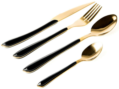 Sabichi Roma Black & Gold 16 Piece Cutlery Set Stainless Steel