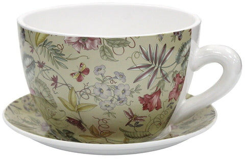 Giant Tea Cup And Saucer Planter Floral Planter 20cm Dolomite