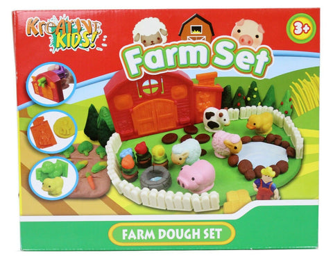 Children's Play Dough Set - Kids Animal Farm Modelling Toy Tools Moulds Fun Kit