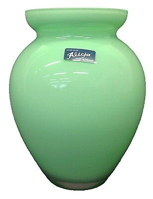 Alicija Handmade Round Green Glass Flower Vase Wide Mouth Tall Bulb shaped 18cm