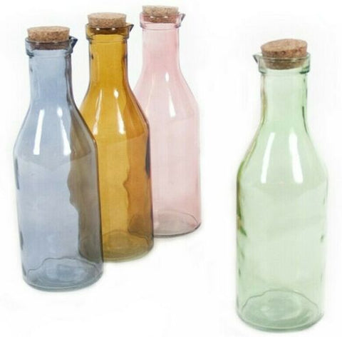 Set of 4 Extra Large Round Glass Carafe Bottle Milk Bottle Assorted Colours 1L