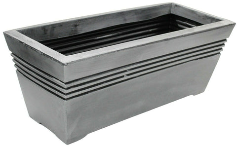 Large Deep 58cm Pewter Grey Plastic Trough Planter Plant Pot Rectangle Planter