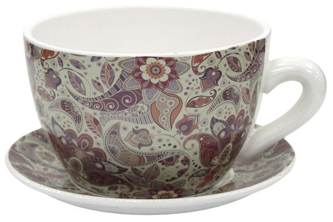 Giant Tea Cup And Saucer Planter Floral Paisley Planter 20cm Dolomite