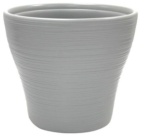 32cm Large Rippled Cool Grey Plant Pot Planter Round Plant Pot Indoor / Outdoor