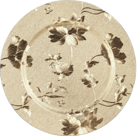 Set of 4 Gold Round Charger Plates 33cm Leaf Design Premium Range