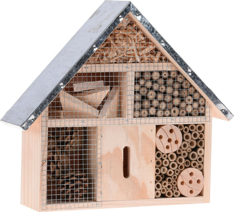 Wooden Insect House Ecological Shelter For Butterflies Wasps Bees Beetles Metal