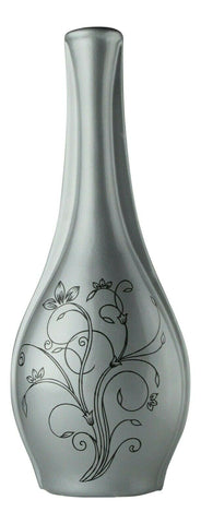 Grey Ceramic Flower Vase 36cm Floral Design Ornament Tall Bottle Neck Decorative