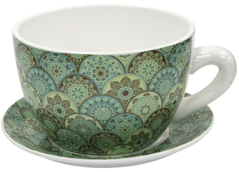 Giant Tea Cup And Saucer Planter Green Vintage Planter 20cm Dolomite